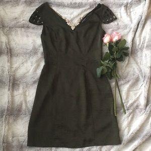 Wide Neck Olive Green Banquet Dress